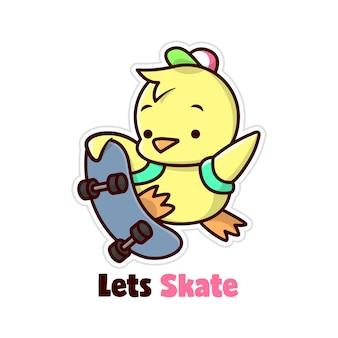 Frango amarelo bonito saltando com seu skate