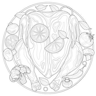 Frango assado com laranja e vegetais. livro para colorir anti-stress para crianças e adultos. ilustração isolada no fundo branco. estilo zen-emaranhado.