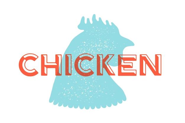 Frango, aves. logotipo vintage, açougue com frango de texto.