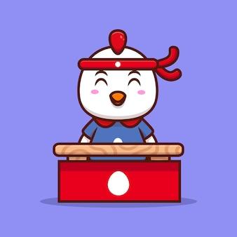 Frango bonito está esperando os clientes ilustração do ícone dos desenhos animados