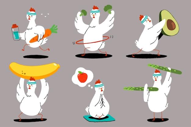 Frango bonito fazendo exercício. alimentação saudável e boa forma. conjunto de caracteres de pássaros engraçados com frutas e vegetais.