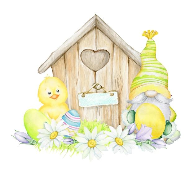 Frango, casa, flores, ovos de páscoa. ilustração de páscoa