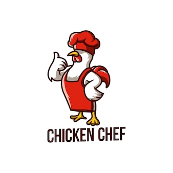 Frango chef comida mascote galo de cozinha