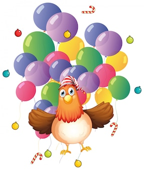Frango e balões coloridos