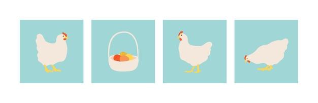 Frango e ovos na cesta de vime. galinhas planas e brancas. conjunto de ilustrações vetoriais para design.