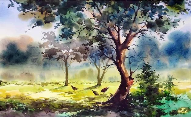 Frango em aquarela brincando sob a árvore de arte manual