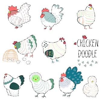 Frango em doodle de linha farm