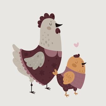 Frango fazenda família mãe e bebê