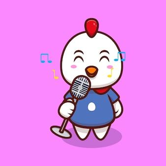 Frango fofo trazendo microfone e ilustração de ícone de desenho animado cantando