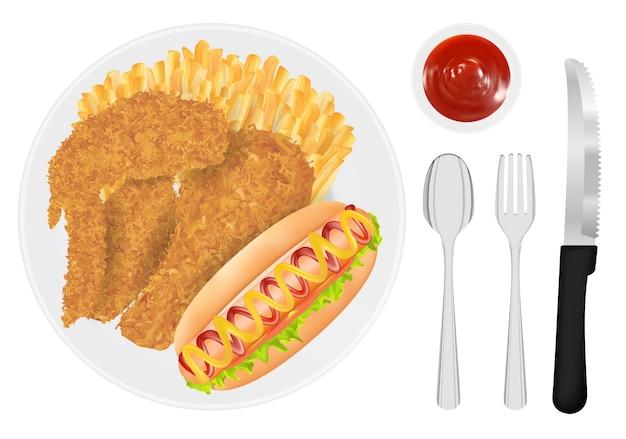 Frango frito, batata frita e salsicha de cachorro-quente em um prato