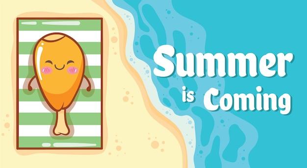 Frango frito fofo relaxando na praia com um banner de saudação de verão