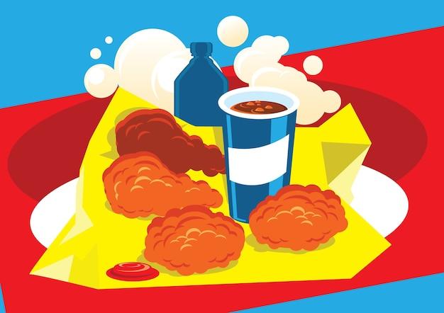 Frango frito quente e ilustração de cola de gelo