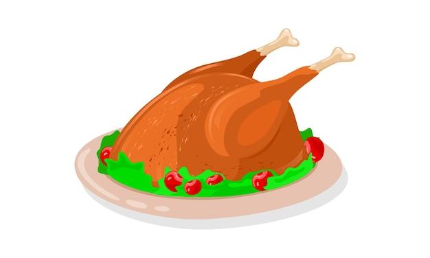 Frango inteiro torrado e crocante decorado com verduras e cerejas vermelhas está no prato.