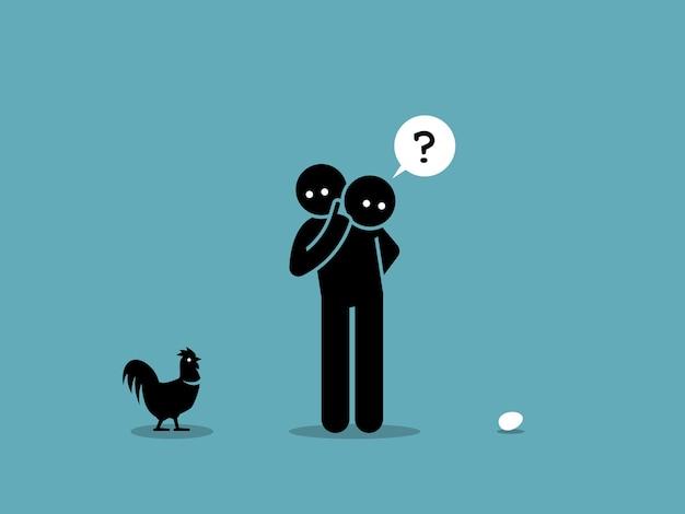 Frango ou ovo. quem vem primeiro argumento. obra de arte mostrando um homem olhando para uma galinha e um ovo e se perguntando qual veio primeiro.