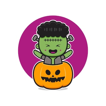 Frankenstein bonito com ilustração do ícone dos desenhos animados de halloween de abóbora. projeto isolado estilo cartoon plana