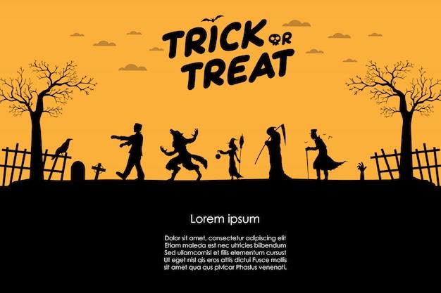 Frankenstein com lobisomem, bruxa, anjo da morte, drácula andando silhueta