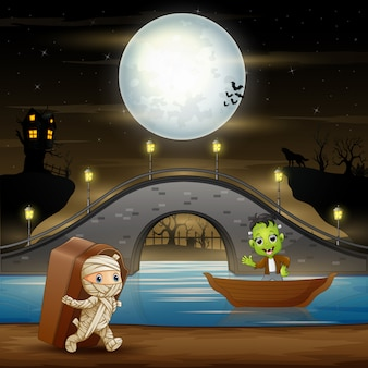 Frankenstein e múmia na ilustração da noite de halloween