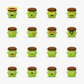 Frankenstein fofo com conjunto de emoticons
