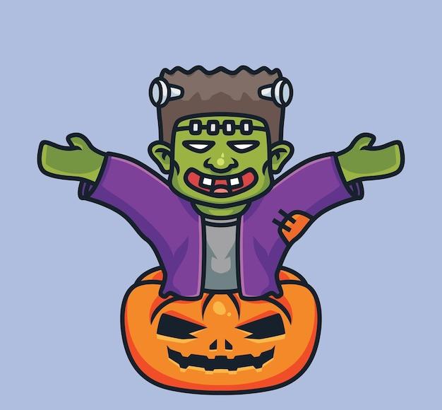 Frankenstein fofo mãos para cima. ilustração isolada de halloween dos desenhos animados. estilo simples adequado para vetor de logotipo premium de design de ícone de etiqueta. personagem mascote
