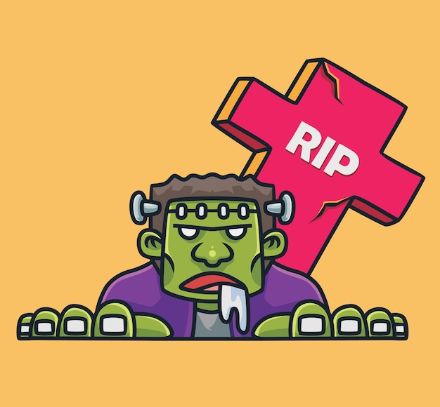 Frankenstein fofo vindo do túmulo desenho animado do cemitério conceito de halloween ilustração isolada