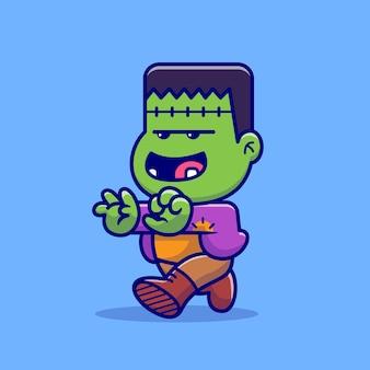 Frankenstein zumbi fofo caminhando