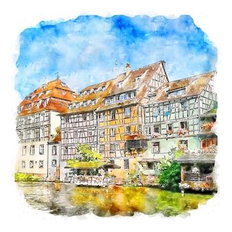 Frankreich frança esboço em aquarela ilustrações desenhadas à mão