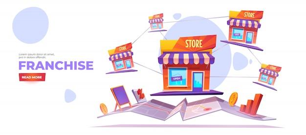 Franquia, banner de expansão de filial para pequenas empresas