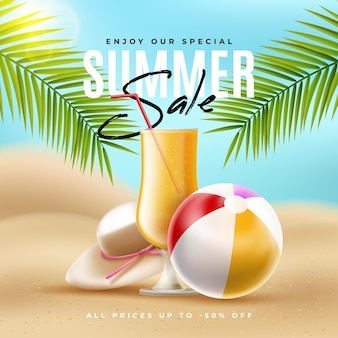 Frappe de venda verão realista na praia