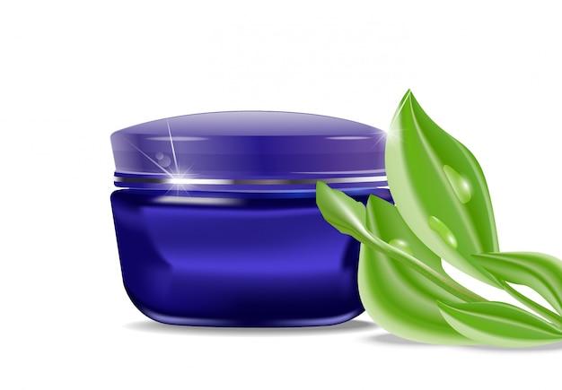 Frasco azul com um creme cosmético e folhas verdes