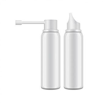 Frasco branco de alumínio com pulverizador para spray oral e nasal.