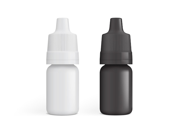 Frasco branco e preto para gotas medicinais isolado em um fundo branco