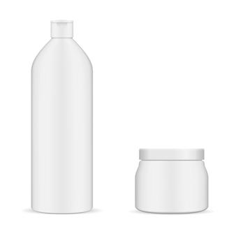 Frasco branco redondo e conjunto de cosméticos de jarra