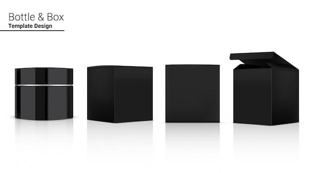 Frasco brilhante frasco em branco realista cosméticos e caixa 3d para clareamento da pele e envelhecimento anti-rugas