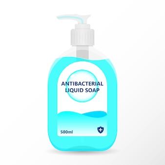 Frasco com bomba de desinfetante para as mãos, gel de lavagem, gel de álcool, sabonete líquido, ilustração antibacteriana
