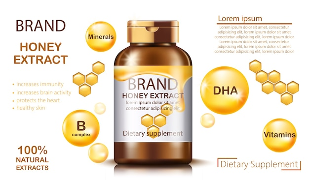 Frasco com suplemento dietético de extrato de mel natural