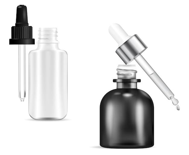 Frasco conta-gotas cosmético. frascos de soro com pipeta gota
