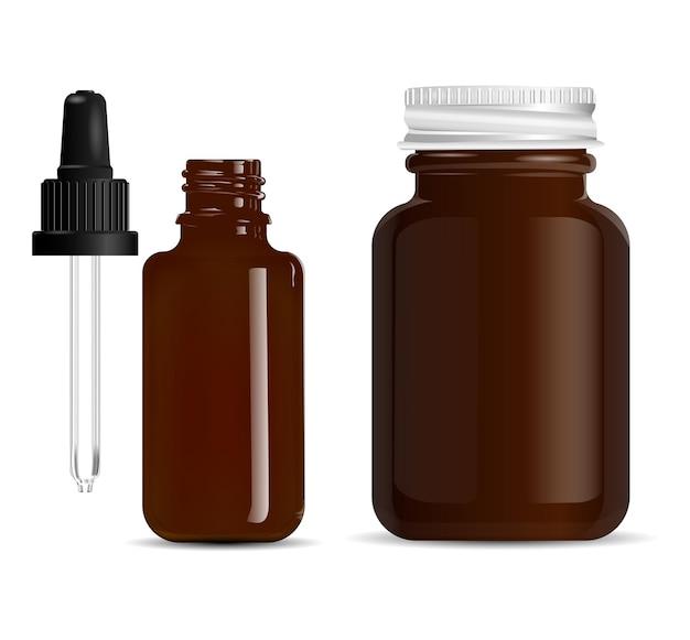 Frasco conta-gotas de vidro marrom âmbar conta-gotas, frasco de comprimidos
