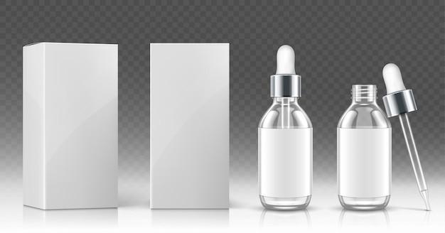 Frasco conta-gotas de vidro para óleo cosmético ou soro e caixa de embalagem branca na frente e em ângulo
