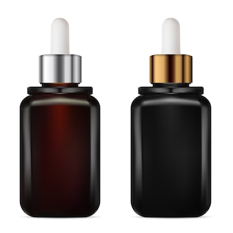 Frasco conta-gotas. frasco de tratamento cosmético de soro. embalagem marrom e preta para o envelhecimento do colágeno. frasco de óleo com aroma de conta-gotas dourado e prata.
