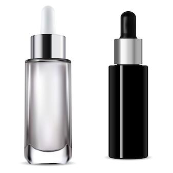 Frasco conta-gotas. ilustração 3d do frasco de pipeta de soro cosmético. embalagem de vidro