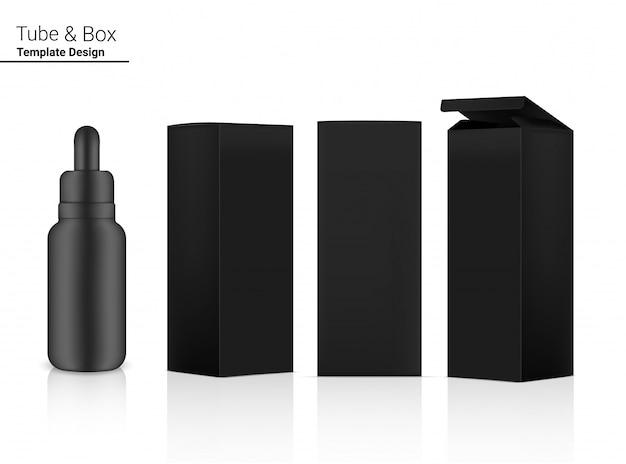 Frasco conta-gotas mock up cosmético realista e 3 caixas laterais para produtos essenciais para a pele