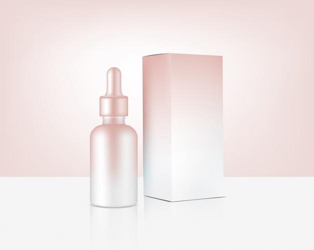 Frasco conta-gotas mock-up realista ouro rosa cosméticos e caixa para produtos para a pele
