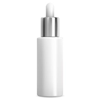 Frasco conta-gotas para soro ocular. frasco de óleo essencial branco em branco para tratamento de cuidado facial líquido