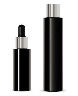 Frasco conta-gotas preto. loção cosmética para soro