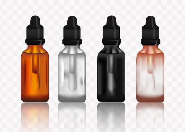 Frasco conta-gotas realista conjunto de frascos em branco de cosméticos para modelo de frascos de medicamentos líquidos Vetor Premium