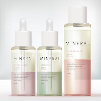 Frasco conta-gotas transparente e frasco com tampa de rosca com óleo essencial de formulação de duas cores