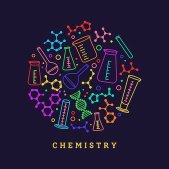 Frasco, copo e átomo químico de estrutura. doodle de equipamento de laboratório. dna ciência química