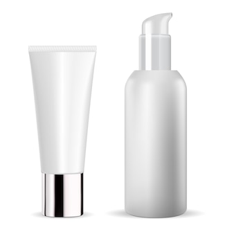 Frasco cosmético branco. tubo de creme. modelo de pacote de soro cosmético em branco. design de embalagem de pasta de dente. frasco de pomada corporal. dispensador de essência de hidratante facial