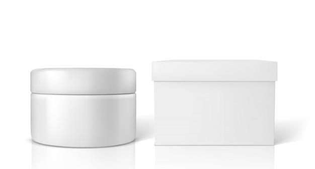 Frasco cosmético com maquete de caixa de embalagem isolado no branco