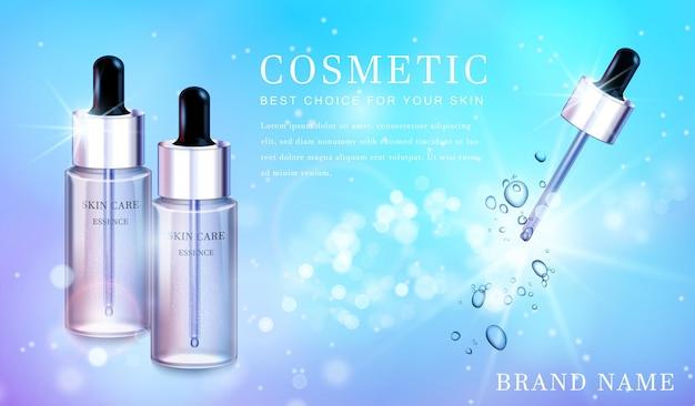 Frasco cosmético de vidro transparente com banner de modelo de fundo cintilante brilhante.